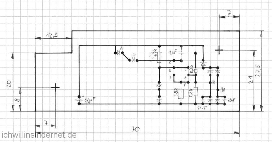 LED Stroboskop: Endgültiges Layout und Abmessungen (Lötseite)