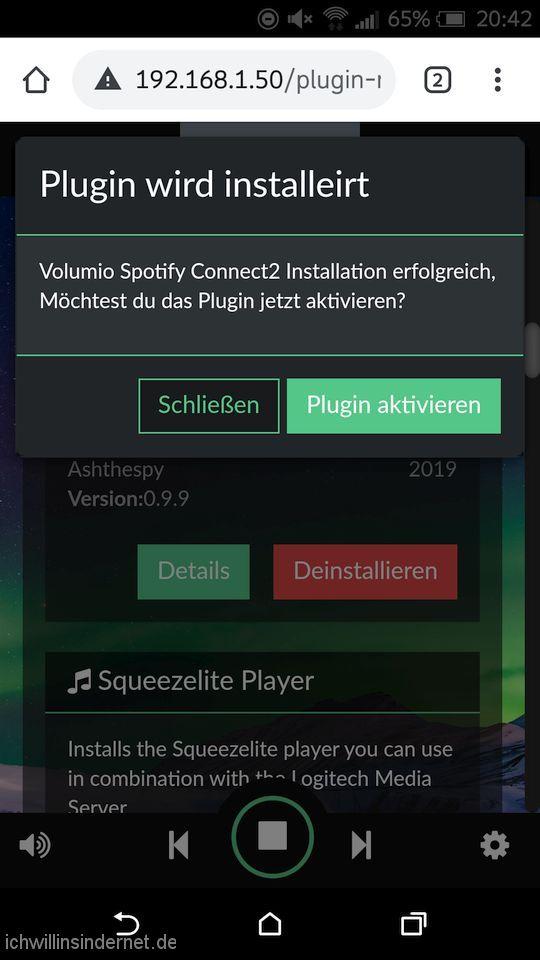 Spotify Connect Plugin aktivieren