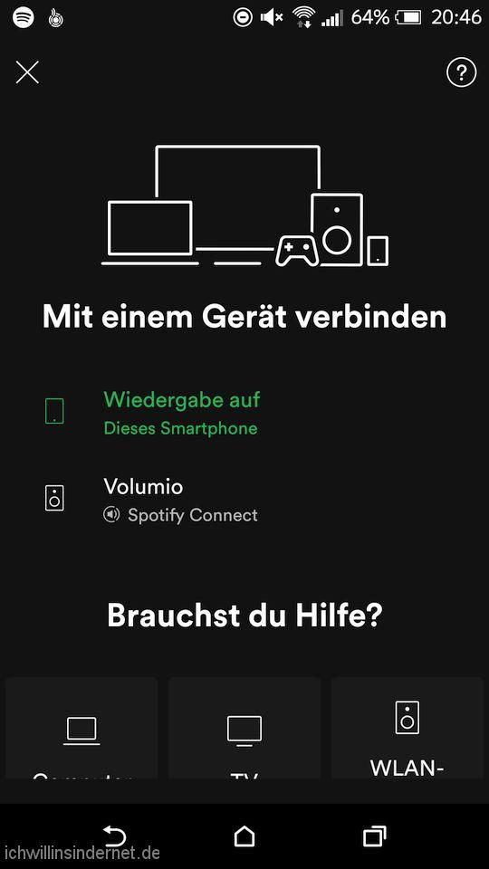 Spotify App Verbinden mit Volumio