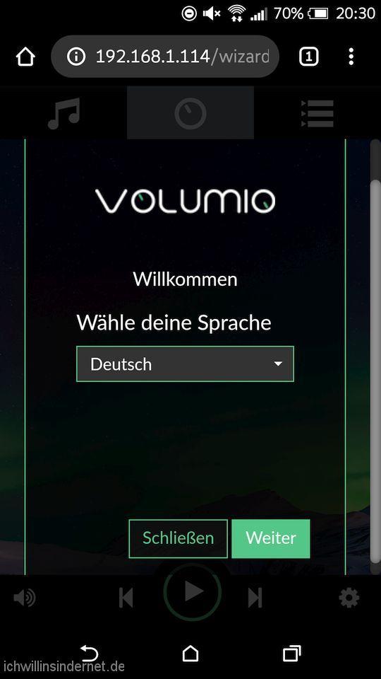 Volumio Musikplayer: Setup willkommen