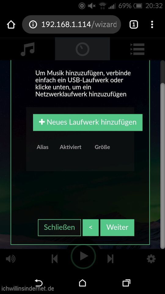 Volumio: Setup Netzlaufwerk