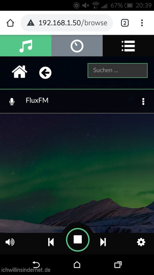 Volumio Musikplayer: Internetradio hinzugefügt