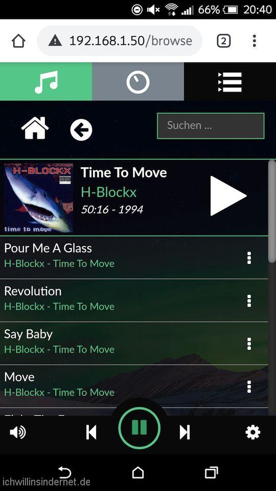 Volumio Musikplayer: Bibliothek