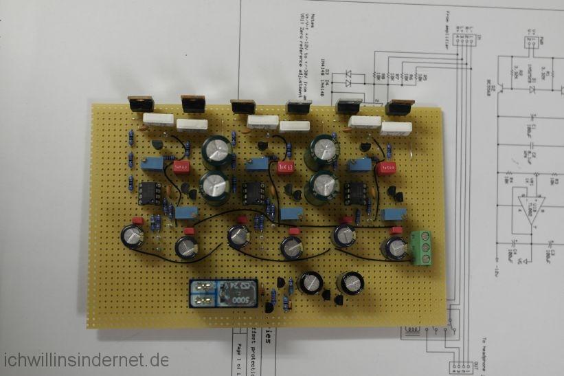 M³ Kopfhörerverstärker mit Schutzschaltung: ε12 Schutzschaltung erster Teil Bestückungsseite