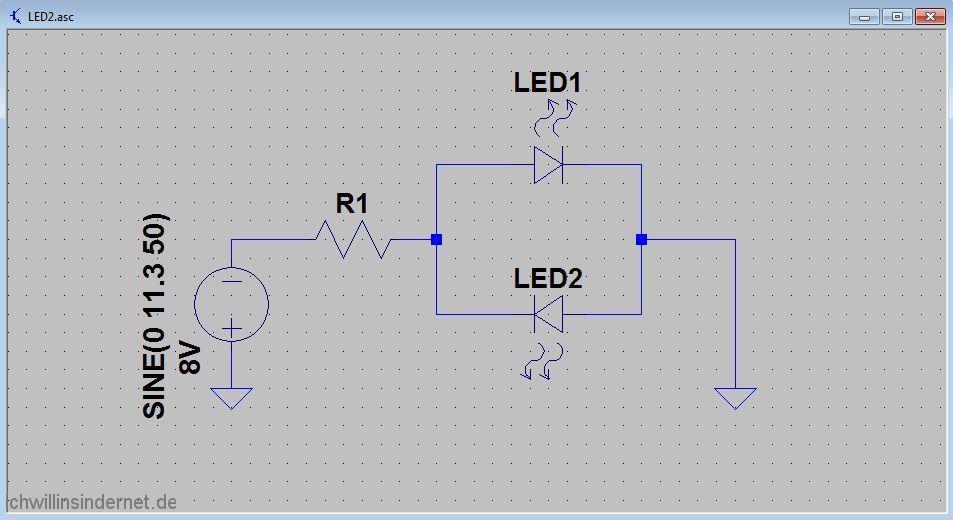 Umbau auf LED Beleuchtung Schaltplan mit zwei LEDs