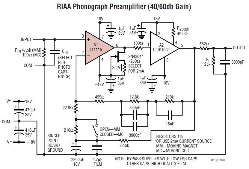 Rauscharmer Phono Verstärker mit LT1115: RIAA Phonograph Preamplifier (40/60db Gain)