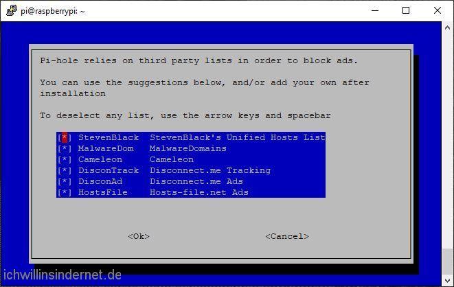 Pi-hole Auswahl der Filterlisten