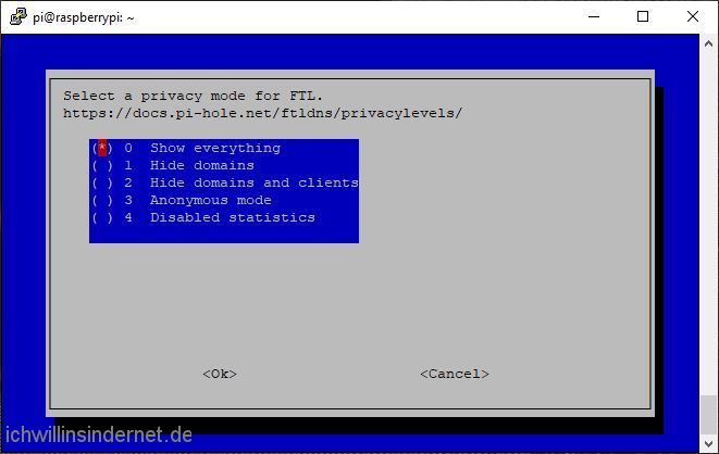 Pi-hole Einstellen des Datenschutz-Modus