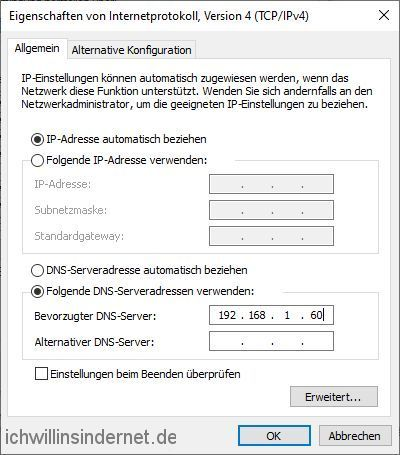 Windows Konfiguration TCP IPv4