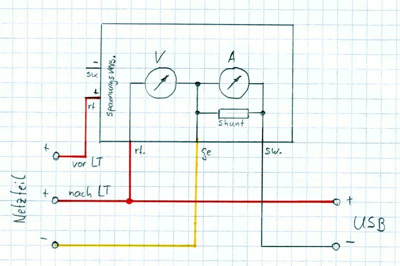 Rauscharmes Netzteil für den Raspberry PI mit Hifiberry: Schaltplan Voltmeter und Amperemeter